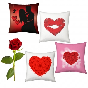 Hearts Printed Soft 4 Pc Cushions Set And Red Rose Valentine Day Gift DLV54CUS107