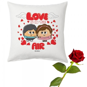 Romantic Couple Printed Designer Cushion And Rose Valentine Day Gift DLV5CUS901