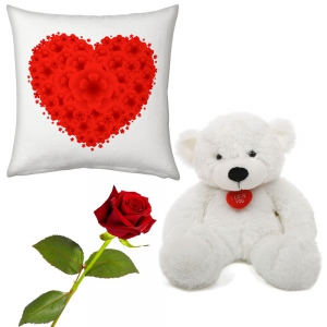 Red Heart Romantic Print Cushion Rose And Teddy Valentine Day Gift DLV5CUS902
