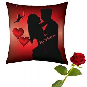 Romantic Couple Printed Cushion And Lovely Rose Valentine Day Gift DLV5CUS904