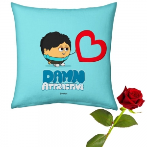 Romantic Boy Printed Soft Blue Cushion And Cute Rose Valentine Day Gift DLV5CUS905