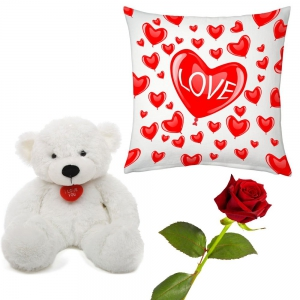 Multiple Hearts Romantic Cushion Rose And Teddy Valentine Day Gift DLV5CUS907