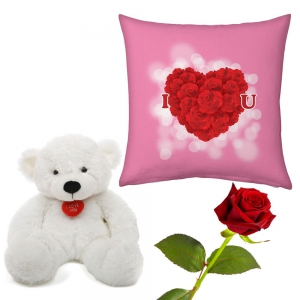 I Love You Printed Heart Cushion Rose And Teddy Valentine Day Gift DLV5CUS912