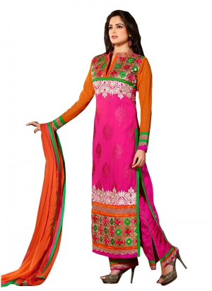 Buy Pink and Orange Faux Georgette Straight Salwar Suit FA231-6307