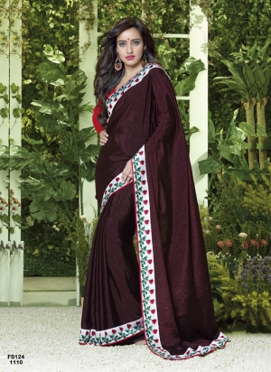 Neha Sharma in New Arrival Dark Rani Pink Designer Saree FS124-1110