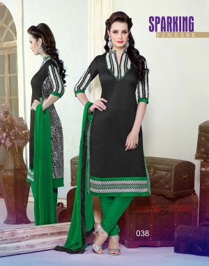 Designer Chanderi Cotton Black  Semi-Stitched long Straight Suit SHJP-38