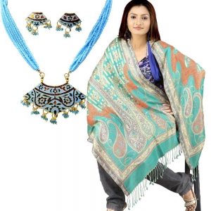 Buy Reversible Kashmiri Stole And Get Meenakari Brass Necklace Set Free DL4COMB195
