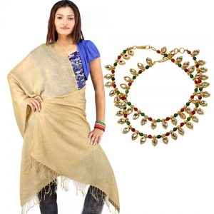 Buy Beige Color Pure Kashmiri Stole And Get Meenakari Brass Anklet Free DL4COMB197