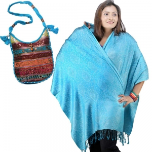 Buy Paisley Design Turquoise Stole And Get Sequin Work Shoulderbag Free DL4COMB198