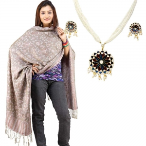 Buy Hand Embroidered Reversible Stole And Get Brass Necklace Set Free DL4COMB199