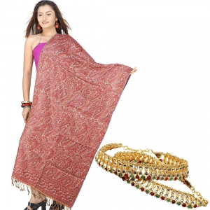 Buy Ethnic Kashmiri Jamawar Stole And Get Colourful Brass Payal Free DL4COMB203