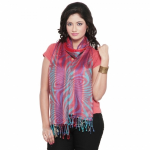 Traditional Multicolor Abstract Design Silk Reversible Kashmiri Stole DLI4SHW162