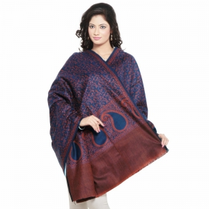 Exclusive Brick Red And Blue Combination Kashmiri Reversible Shawl DLI4SHW171