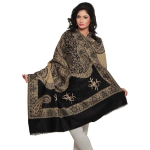 Golden Floral And Paisley Design Kashmiri Black Color Woolen Shawl DLI4SHW175