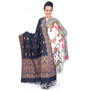 Traditional Design Black And Red Color Woolen Warm Kashmiri Shawl DLI4SHWF160