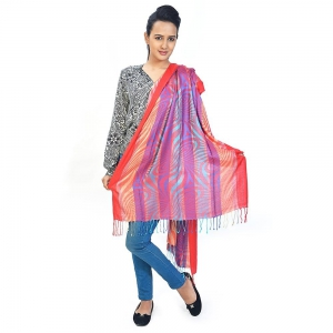 Traditional Multicolor Abstract Design Silk Reversible Kashmiri Stole DLI4SHWF162