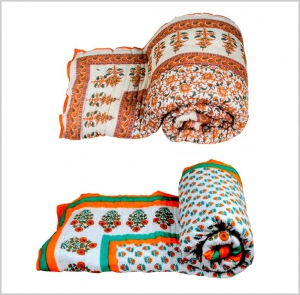 meSleep 2pc combo -100 Percent Cotton Orange and Multi  Double Bed Quilt-01-11