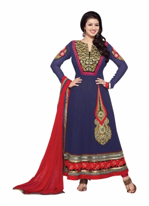Blue Georgette Anarkali Party Wear Suit With Embroidered Work And Chiffon Dupatta ASAS21003