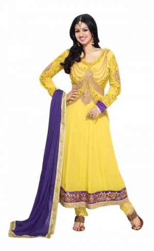 Yellow Georgette Anarkali Party Wear Suit With Embroidered Work And Chiffon Dupatta ASAS21005