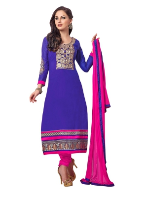 Blue Cotton A-Line Casual Wear Suit With Embroidered Work And Chiffon Dupatta ASSD15002