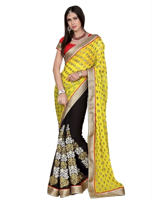 Bewitching yellow and black Georgette saree - GLX9906