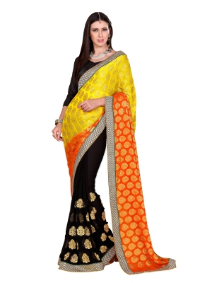 Lovely orange,yellow and black Georgette saree - GLX9909