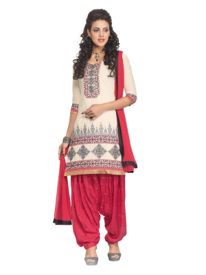 White Cotton A-Line Casual Wear Suit With Embroidered Patches And Chiffon Dupatta KCPH2355