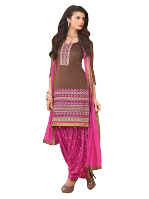 Brown Chiffon A-Line Casual Wear Suit With Embroidered Work And Chiffon Dupatta KCPH2461