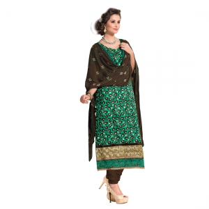 Green Embroidery Work Salwar Suit With Cotton Fabric MAST9004