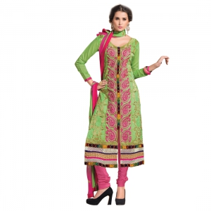 Green Embroidery Work Salwar Suit With Cotton Fabric MAST9009