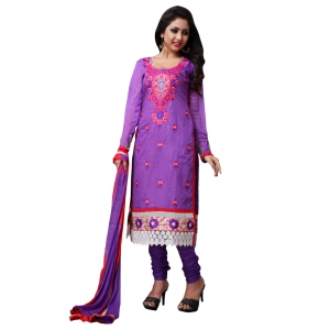 Violet Embroidery Work Salwar Suit With Cotton Fabric PANG8007