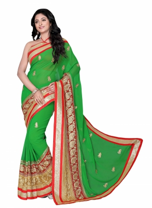Magnificant green Georgette saree - RSL31006