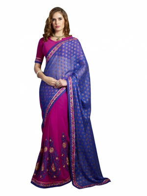 Preety blue and pink Georgette saree - SBZ51009A