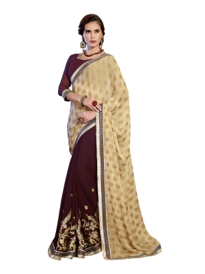 Beautifull Dazzling beige and coffie Jacquard saree - SBZ51010A