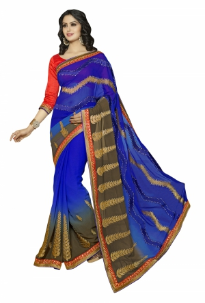 Magnificant blue and coffie Georgette saree - SNS58002