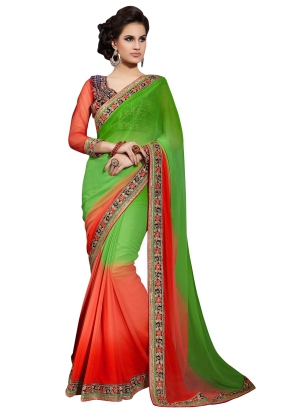 Stylish green and orange Georgette saree - TMN9909