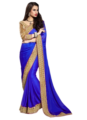 Simplistic blue Georgette saree - TMN9910