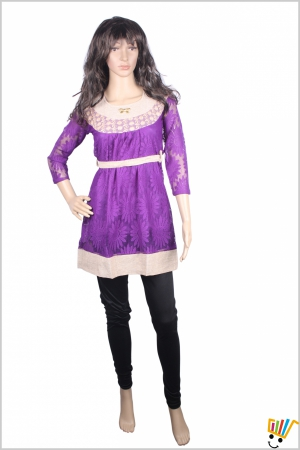 Pretty kurti in purple colour with 3-4th sleeves 20150102_Top7a