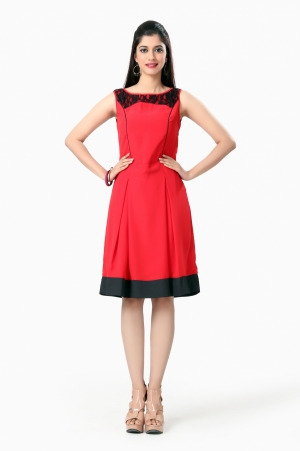 Eavan Red fit And Flare Dress EA901