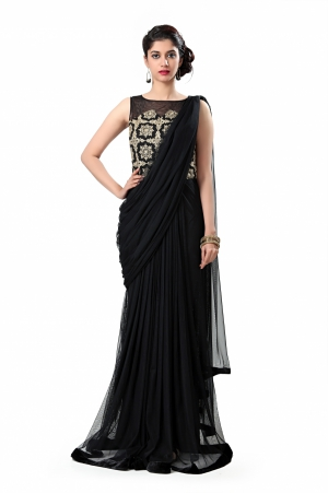 Eavan Black Drapped Maxi Dress EA921