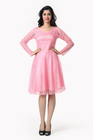 Eavan Pink Fit And Flare Dress EA924