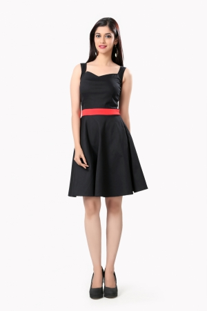 Eavan Black Fit And Flare Dress EA954