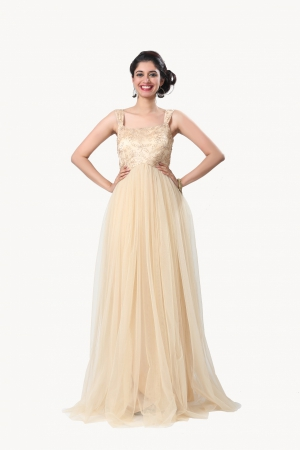 Eavan Golden Embroidered Maxi Dress EA958