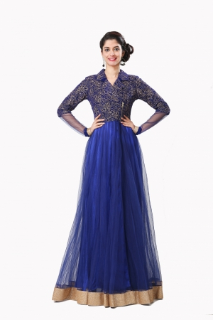 Eavan Royal Blue  Zipper  Maxi Dress EA959