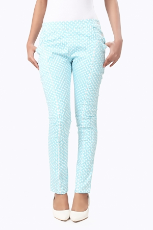 Eavan Sky Blue Printed Jeggings EA978