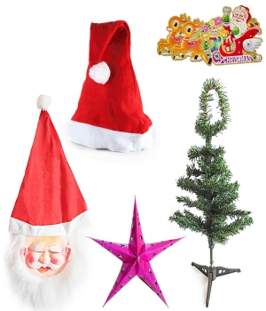 Christmas Tree Big Star Santa Mask N Santa Cap Gift 107 Dl4Xmas107