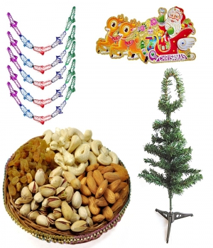 Christmas Tree N Garland With 200Gm Dryfruits Gift 127 Dl4Xmas127