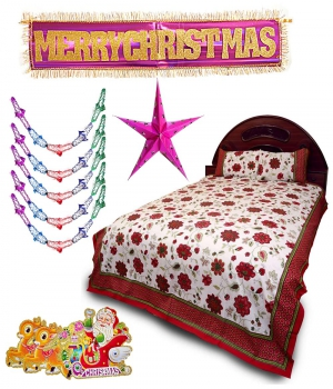 Send Double Bedsheet Christmas Hanging With Stars 132 Dl4Xmas132