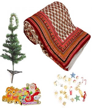 Jaipuri Double Quilt Colorful Christmas Tree Gift 135 Dl4Xmas135
