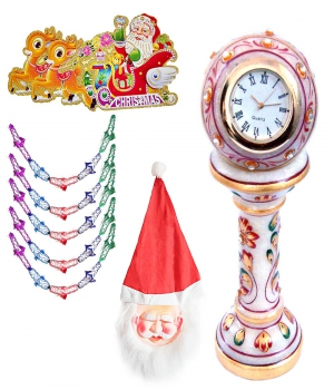 Marble Table Clock N Santa Mask With Garland Gift 141 Dl4Xmas141